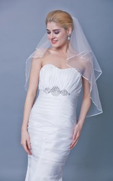 Mid Length Satin Trim Two Tier Veil