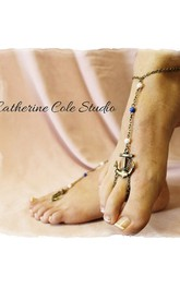 Western Style Summer Fashion Simple Foot Multicolored Beads Anchor With Anklet 30Cm