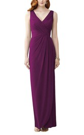 V-neck Ruched Chiffon Bridesmaid Dress with Drapping