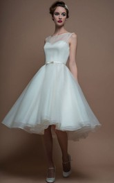 A-Line Tea-Length Sleeveless Bateau-Neck Organza Wedding Dress With Illusion