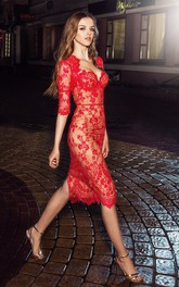 Pencil Knee-Length Spaghetti Half Sleeve Lace Dress With Appliques