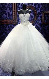 Glamorous Sweetheart Sleeveless Tulle Lace Wedding Dress With Beadings Crystals