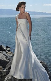 A-Line One Shoulder Beading Satin Court Train Wedding Dress