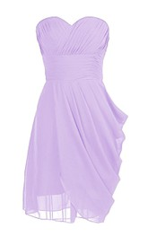 Sweetheart Drapped Short Dress With Ruched Band