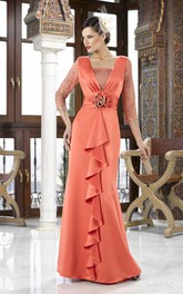 Maxi Square Neck Appliqued 3-4 Sleeve Chiffon Mother Of The Bride Dress