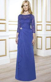 3-4 Sleeve Lace Bateau Neck Chiffon Formal Dress With Broach And Draping