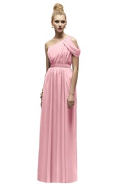 Long Empire Chiffon Classic One-Shoulder Dress