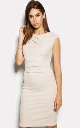 High Neck Cap Sleeve Sheath Jersey Knee Length Dress With V Back