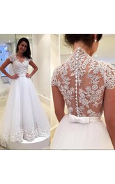 Dreamy Cap Sleeve Lace 2018 Wedding Dress Zipper Button Back Bridal Gowns