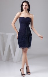 Sweetheart Short Criss-Cross Draping and Dress With Lace
