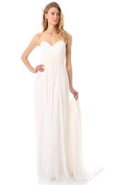 Long Sweetheart Empire Chiffon Dress With Chapel Train