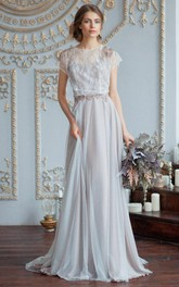 Tulle Satin Beaded Lace Wedding Dress