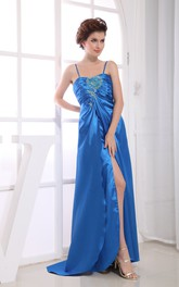 Satin Spaghetti-Strap Maxi Dress With Ruching and Beading