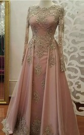 Jewel Illusion Long Sleeve Floor-length Lace Tulle A-Line Dress