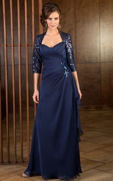 3-4 Sleeved Long Mother Of The Bride Dress With Ruffles And Sequins
