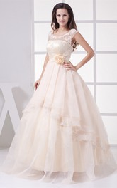 Sleeveless Scoop Neckline Illusion Sweetheart Dress With Lace Appliques and Side Draping