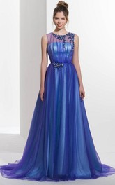 A-Line Jewel Neck Beading Pleats Court Train Prom Dress