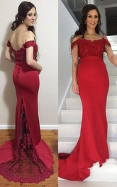 Trumpet Off-the-shoulder Lace Satin Dress with V-back