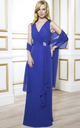 Sleeveless V-Neck Chiffon Mother Of The Bride Dress With Draping And Cape