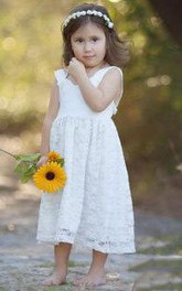 Flower Girl Empire Straps A-line Lace Midi Dress