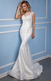 Trumpet Appliqued Scoop-Neck Sleeveless Long Lace Wedding Dress With Sequins And Illusion