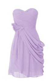 Strapless Sweetheart Drapped Short Dress With Flowers