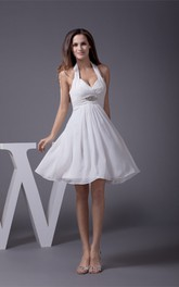Knee Length Sleeveless Halter A-Line Dress With Ruching and Beadings