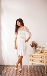 Short Sleeves Lace Whitelace Wedding Civil Bridal Gown