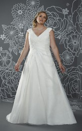 A-Line Floor-Length V-Neck Cap Satin Court Train Lace-Up Back Ruching Dress