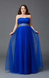 A-line Floor-length Strapless Sleeveless Tulle Ruching Waist Jewellery Low-V Back Dress