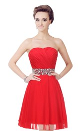 Strapless A-line Dress With Crystal Embellishments