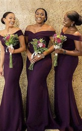 Sexy Elegant Mermaid Jersey Off-the-shoulder Bridesmaid Dress With Ruching