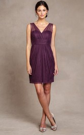 Short V-Neck Sleeveless Tulle Bridesmaid Dress With Ruching And V Back