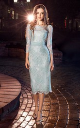 Pencil Tea-Length Bateau 3-4-Sleeve Lace Dress With Appliques