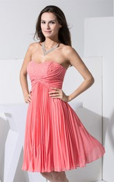 Lovely Sweetheart Knee Length Jeweled Gown With Ruching and Pleats