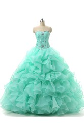 Ball Gown Beading Ruffles Organza Dress