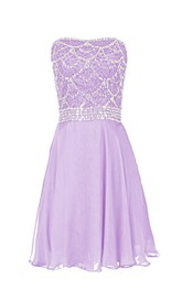 Lustrous Strapless Crystal-beaded Chiffon Short Dress