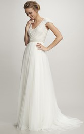 A-Line Cap-Sleeve Maxi V-Neck Tulle Wedding Dress With Beading And V Back