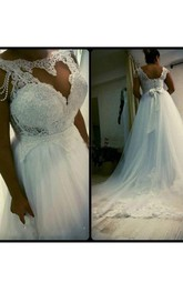 Plus Size Elegant A Line Lace Beading Bone Bodice Tulle Bridal Gown