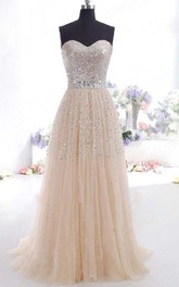 A-Line Tulle Sequins Sweetheart Sleeveless Zipper Dress