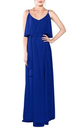 Spagetti Straps Long Chiffon Bridesmaid Dress