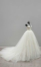 Ball Gown Tea-Length V-Neck Sleeveless Bell Zipper Keyhole Tulle Lace Satin Dress