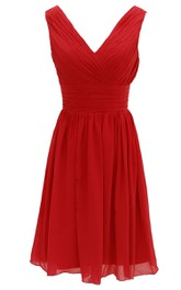 Elegant V-neckline Chiffon Dress With Basque Waist