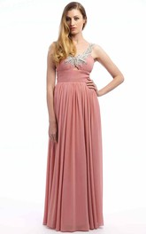 Beaded Sleeveless Strapped Long Chiffon Prom Dress With Pleats