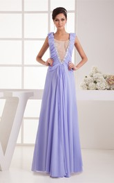 Plunged Chiffon Floor-Length Caped-Sleeve Pleats and Dress Illusion