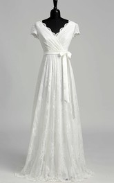A Line Garden Cap Short Sleeve Wedding Dress