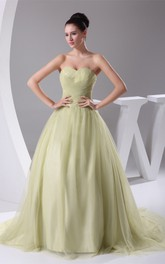 Sweetheart A-Line Tulle Pleats and Ball-Gown With Ruching