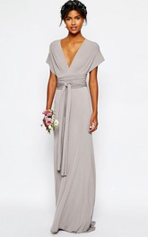 Sheath V-Neck Sash Floor-Length Short-Sleeve Jersey Bridesmaid Dress