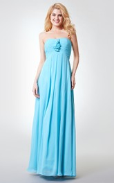Backless A-line Long Chiffon Dress With Ruching