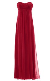 Sweetheart Long Chiffon Dress With Empire Design